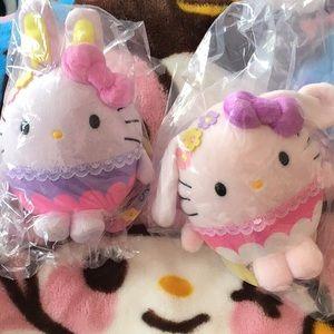 2 Sanrio hello kitty Easter bunny bean mini plush
